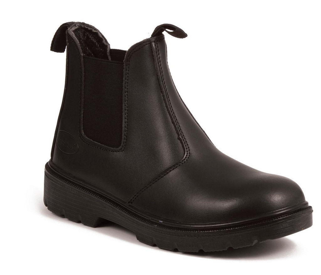 black leather dealer boot safety stock