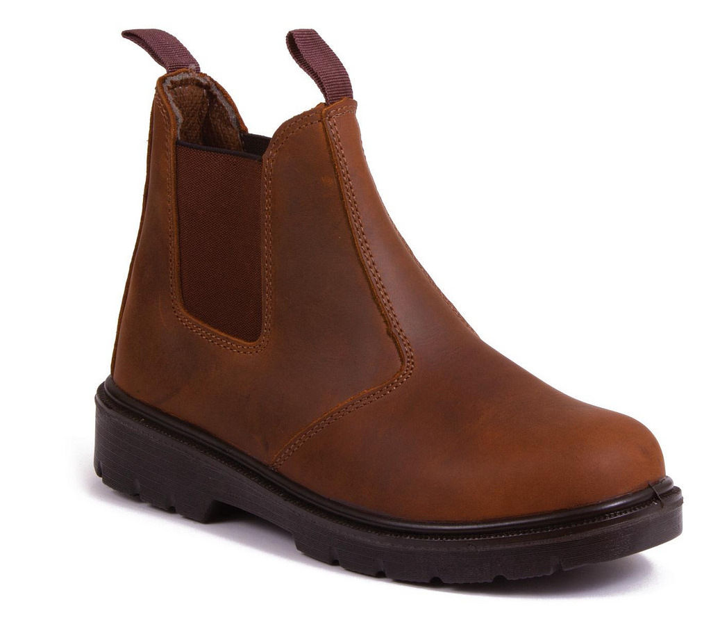 brown leather chelsea boot safety stock